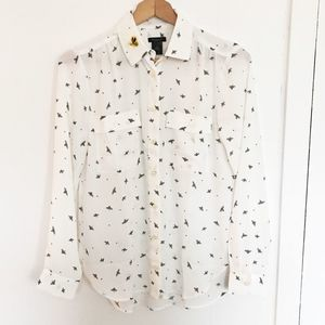 Ann Taylor bee Button Up Top bumblebee patch XS